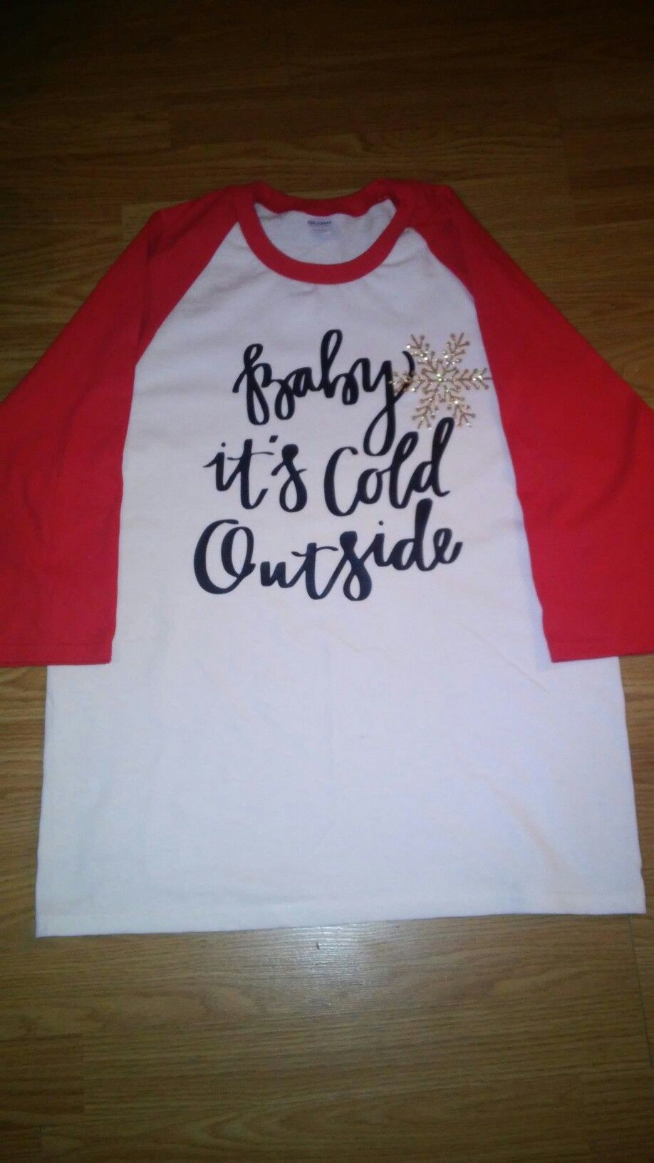 Custom. Vinyl. Glitter. Baby it's cold outside. Raglan. Braylee's Sew Sweet Boutique.
