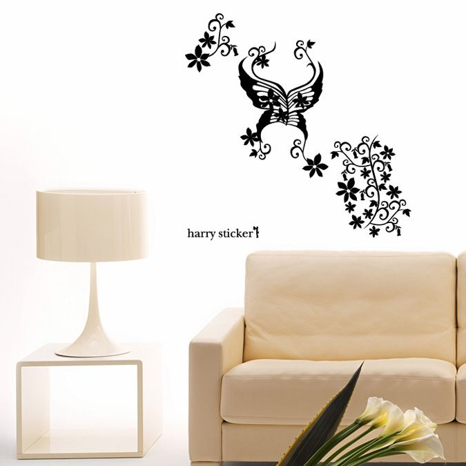 Wallsticker Butterfly-flowers Wallpaper Interior Design