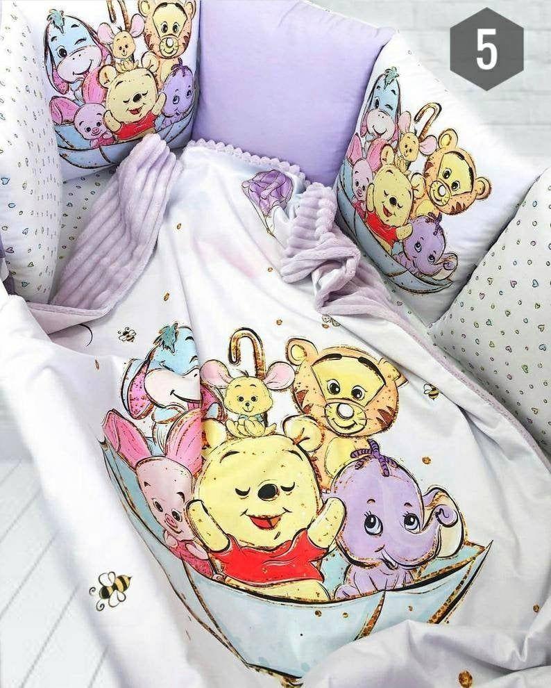 Baby Bedding Set With Bumper Nursery Crib Bedding Set Disney Toddler Bedding In 2020 Baby Girl Crib Bedding Crib Bedding Girl Disney Toddler Bed