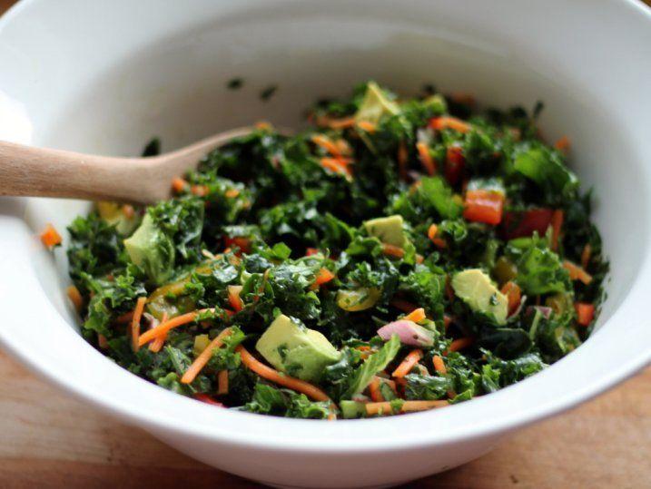 Kale Rainbow Detox Salad with Lemon Vinaigrette - Salads -