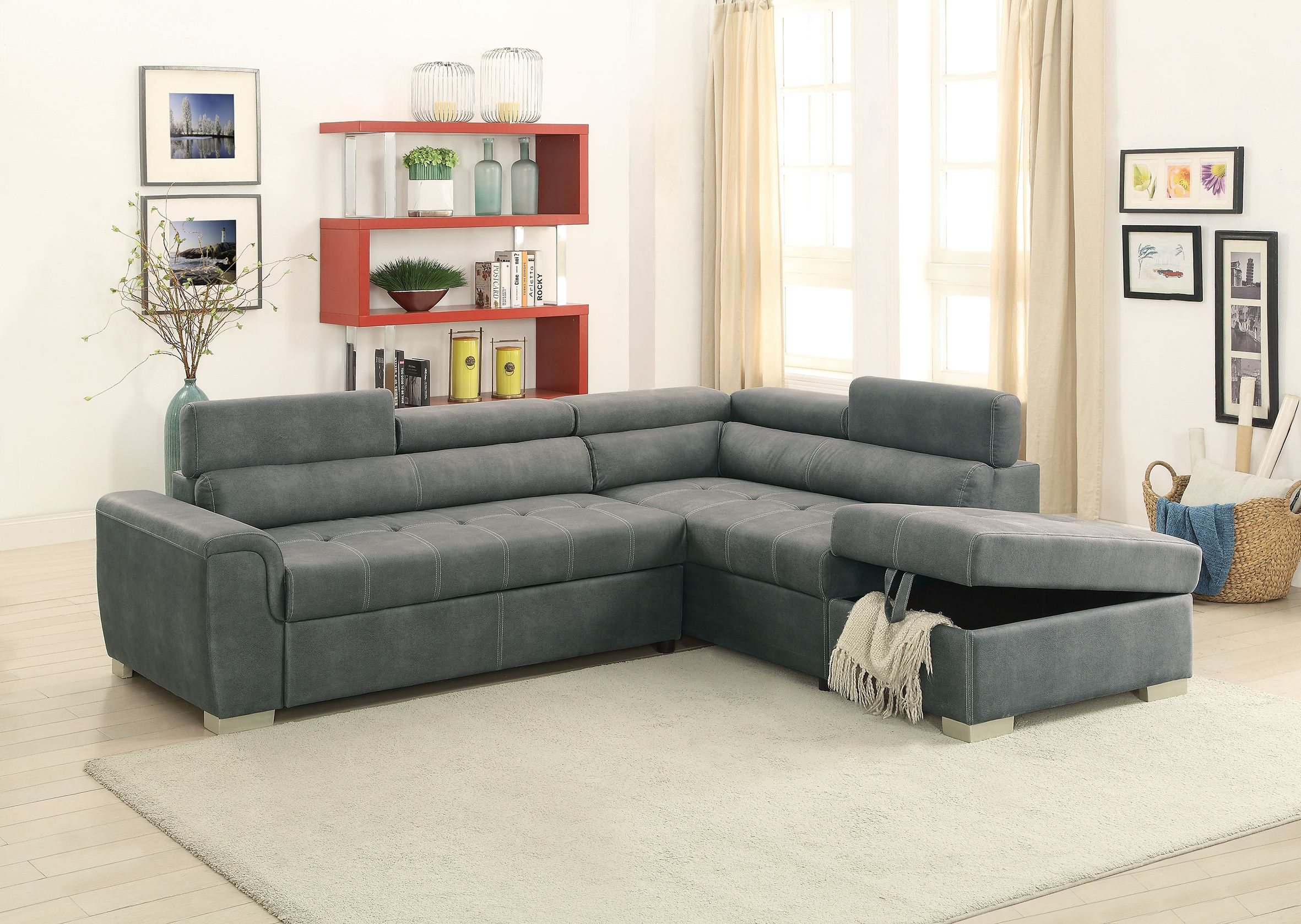 F6550 Slate Gray Convertible Sectional Sofa Set By Poundex Sectional Sofa Sofa Set Pull Out Bed