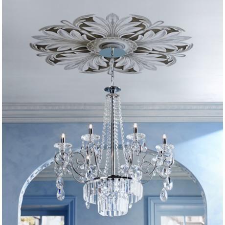 beautifu chandelier and ceiling medallion via Hyde Park Mouldings – Chandelier Medallion