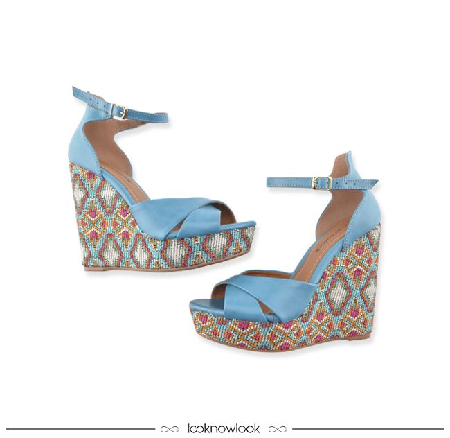 Sandália Anabela | Padronagem Étnica  #sandália #plataforma #étnico #calçados #looknowlook