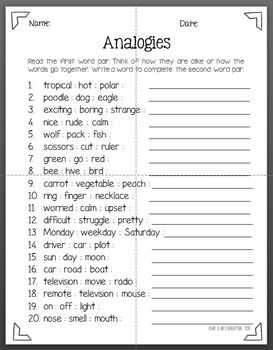Printables Analogy Worksheets 8th Grade freebie this is a 20 question analogies worksheet it good for practice review or even as quiz range in difficulty it