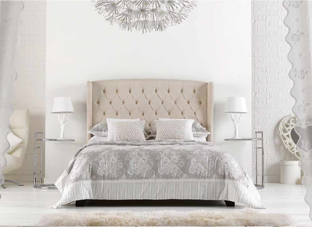 atherton cream fabric upholstered bed frame | tufted bed, the o