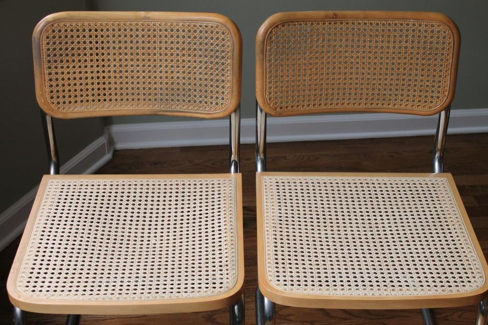 LOT 2 VINTAGE MADE IN ITALY BREUER WOVEN WICKER ROUND BACKED DINING TABLE CHAIRS #Breuer #Modern