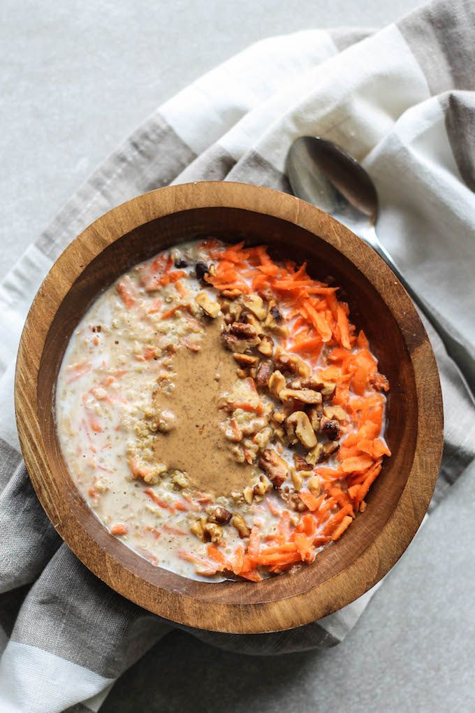 Carrot Cake Quinoa Bowls | Destination Delish – wholesome and hearty quinoa kissed with the sweet flavors of carrot cake for the perfect spring breakfast