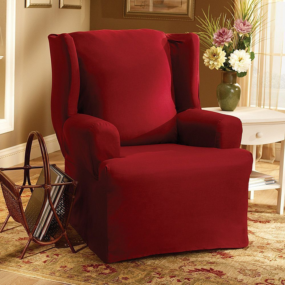 Sure Fit™ Solid Duck Cloth Wing Chair Slipcover