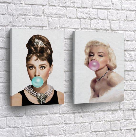 Marilyn Monroe Canvas Pink Bubblegum Gold Crystal Background Canvas Print Gift