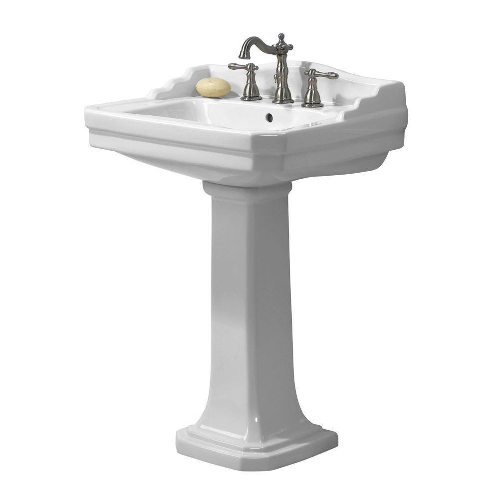 Foremost Series 1930 Lavatory And Pedestal Combo In White Fl 1930 8w The Home Depot Pedestal Sink Pedestal Sink Bathroom Bathroom Sink