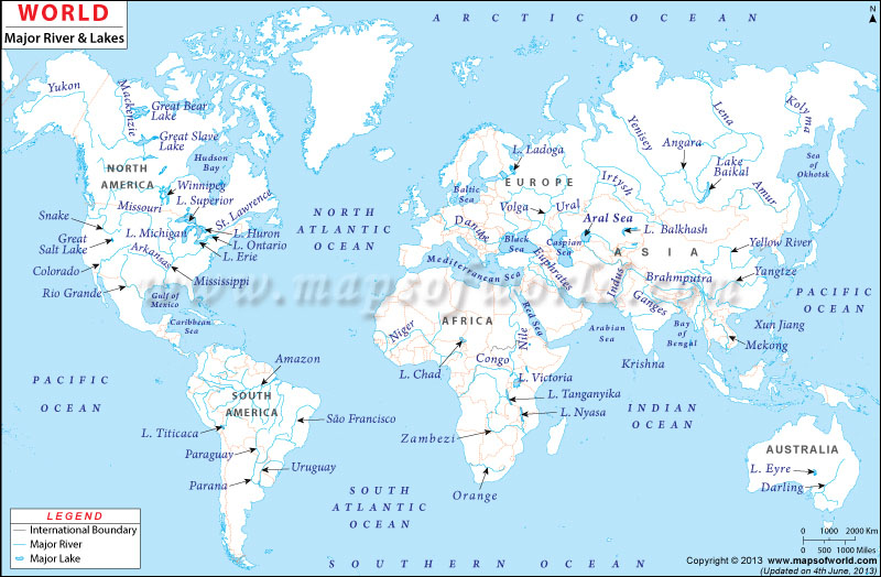 World Map Of Rivers World River Map, World Map With Major Rivers and Lakes in 2020
