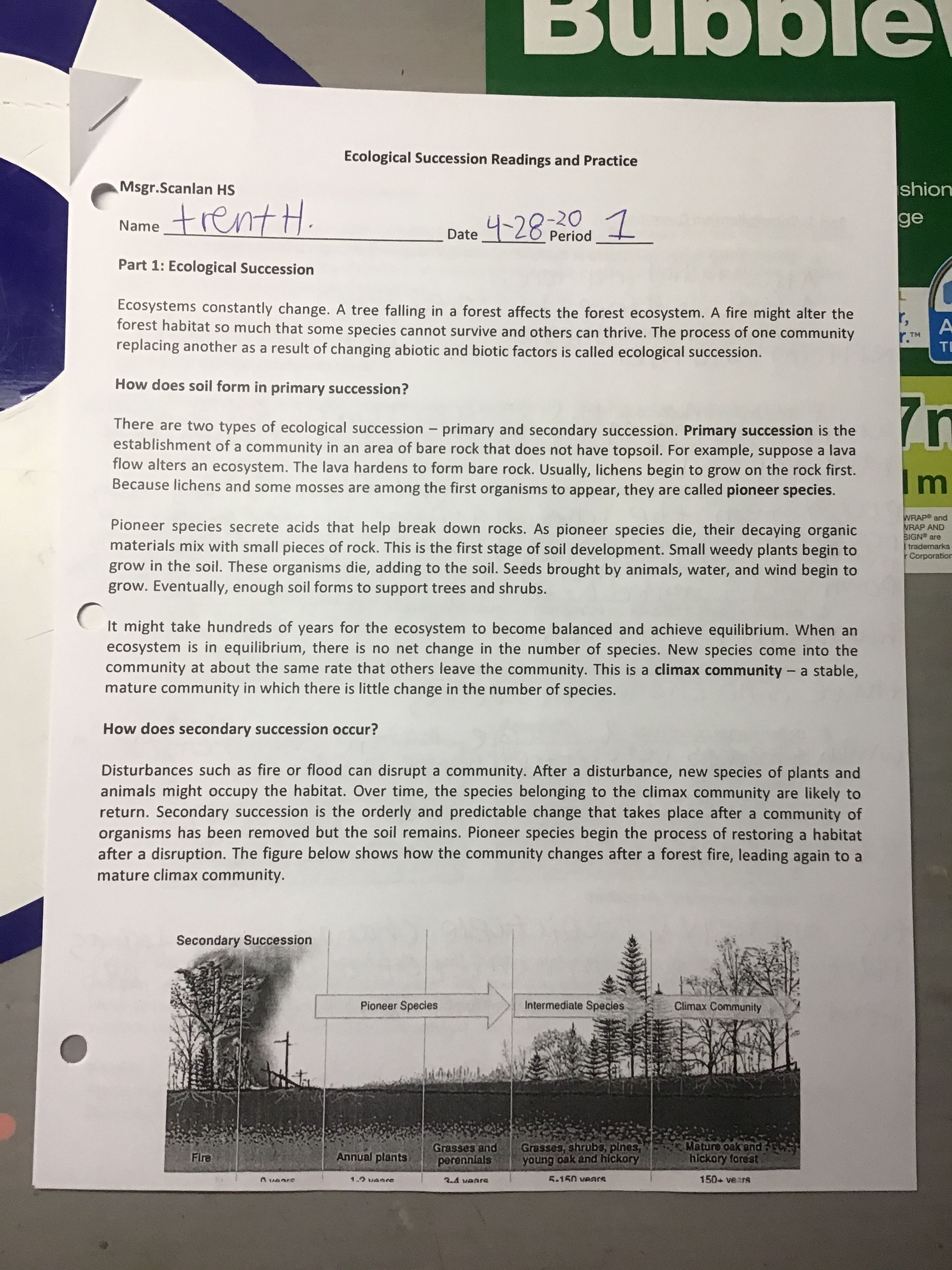 Ecological Succession Readings Practice Page 1 4 28 20 Reading Practice Ecological Succession Reading [ 3264 x 2448 Pixel ]