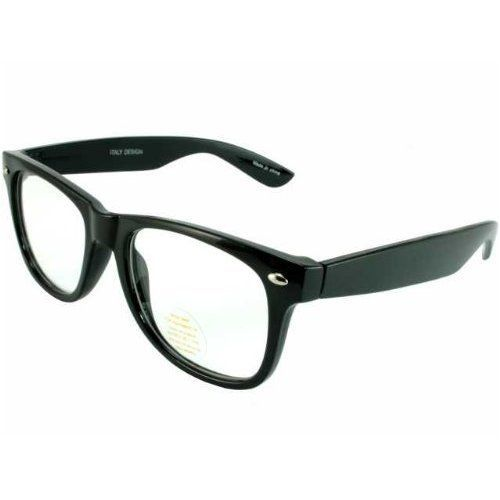 31bd6f386cb Nerd Glasses Buddy Holly Wayfarer Black Frame Clear Lens