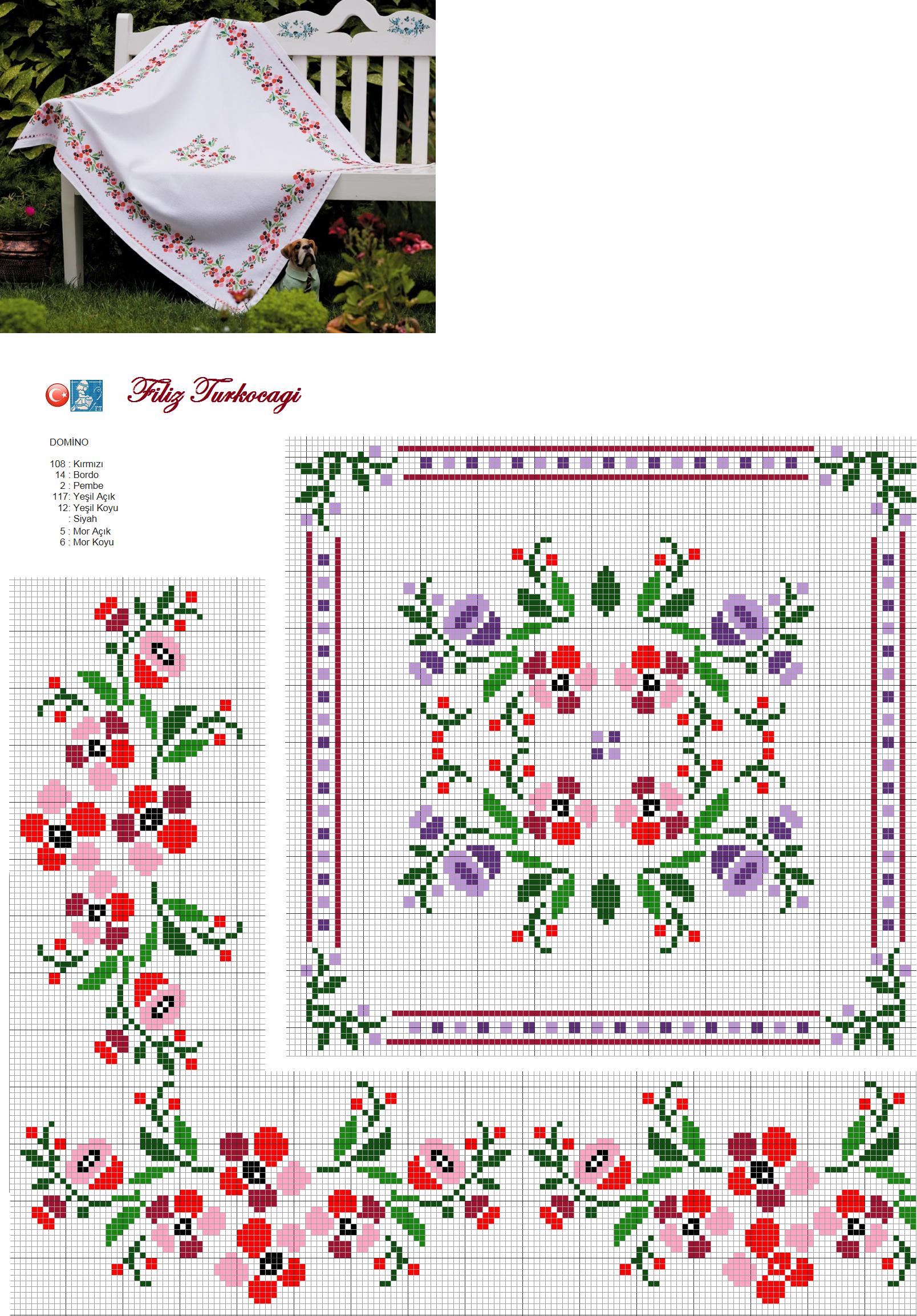 Masa örtüsü de olsun, neden olmasın ki ? Kenar ve orta şablonudur, aman ha ! Ortadaki motife farklı renkler ekledim, fikir vermek adına :) Designed and stitched by Filiz Türkocağı...