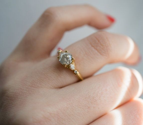 Fancy Grey Diamond Engagement Ring | Recycled 14k Yellow Gold | Vintage  Marquise Diamond Side Stones