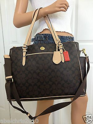 669ef4c27a3fa1 NWT COACH BROWN BABY DIAPER BAG SIGNATURE LAPTOP CROSSBODY TOTE PURSE