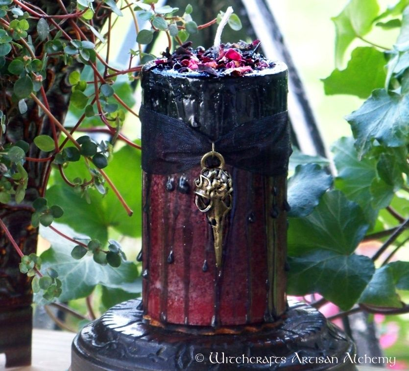 Witchcrafts Artisan Alchemy - MORRIGAN Raven Warrior Goddess Fusion Pillar Candle,  (http://www.witchcraftsartisanalchemy.com/morrigan-raven-warrior-goddess-fusion-pillar-candle/)