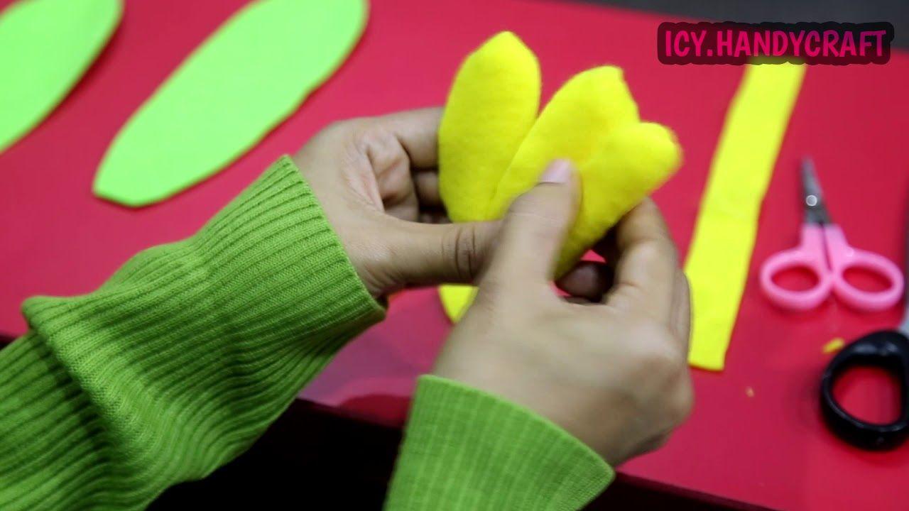 Diy Cara Membuat Bunga Tulip Dari Flanel Youtube Flower Tutorial