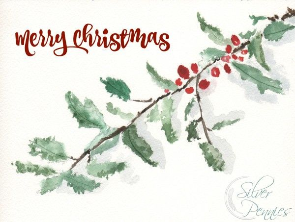 Holly Watercolor Free Printable Free Christmas Printables