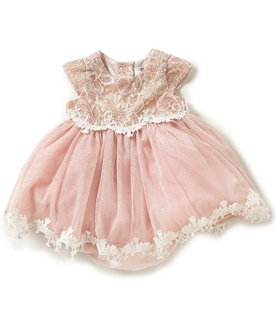 Rare Editions Baby Girls 3-24 Months Sparkle Lace to Mesh Dress