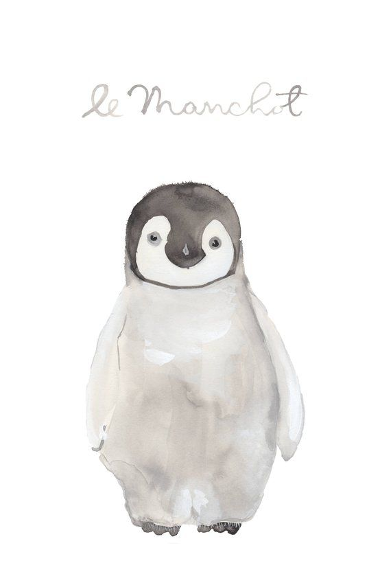 Baby Penguin Watercolor Arctic Nursery Art Baby Animal