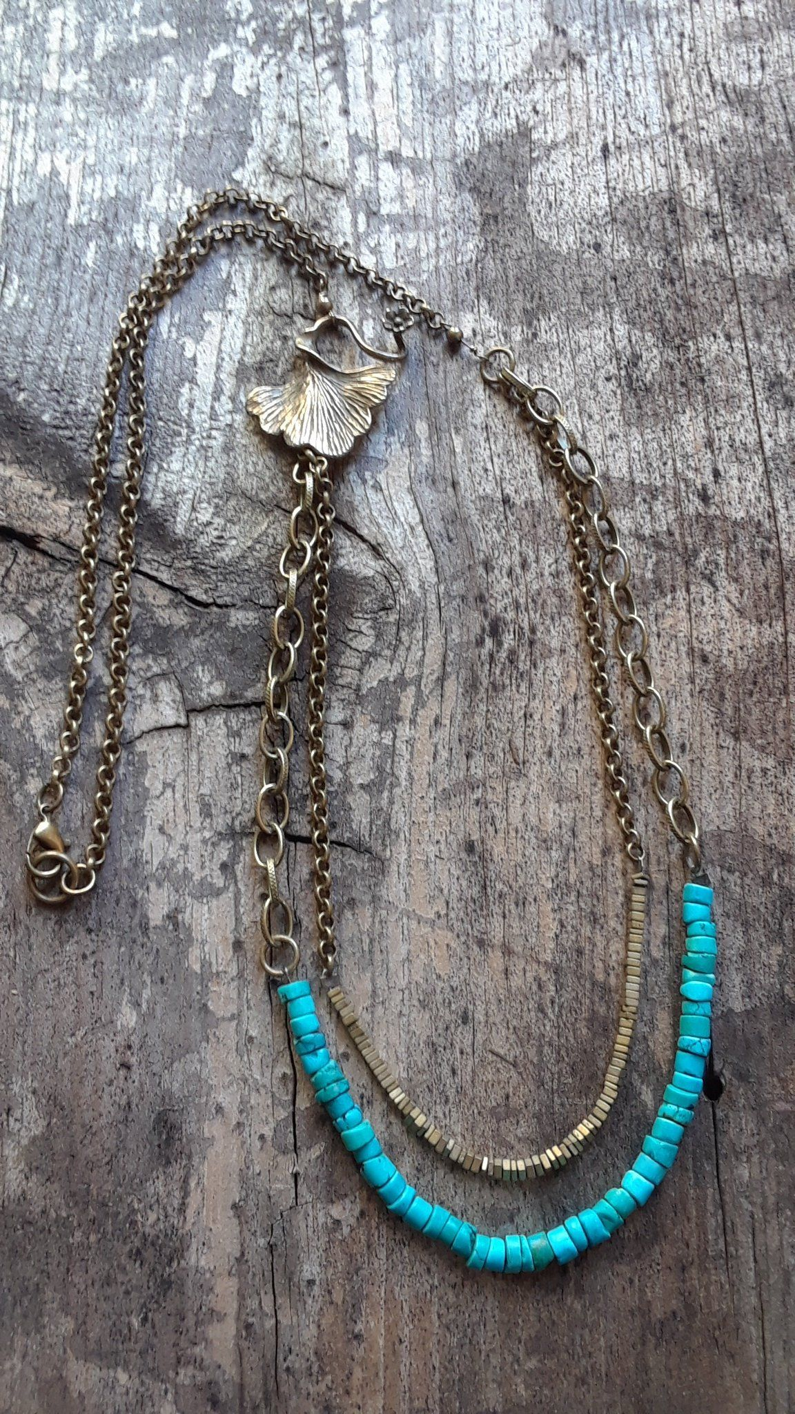 Gingko leaf layered necklace by bluebirdiedesign on etsy