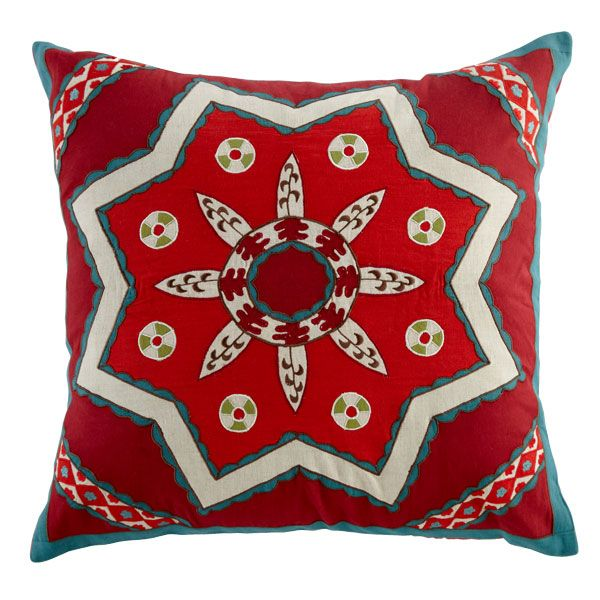 colorful suzani pillow, inspired by the original suzanis, heirloom pieces of needlecraft from Central Asia