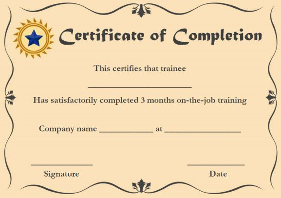 ojt certificate of completion sample format - Ojt Certificate Of Completion Template