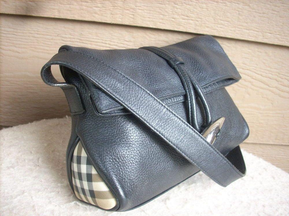 Burberry London Women Purse Black Leather Foldover S 04 1 Italy Hobo Starting