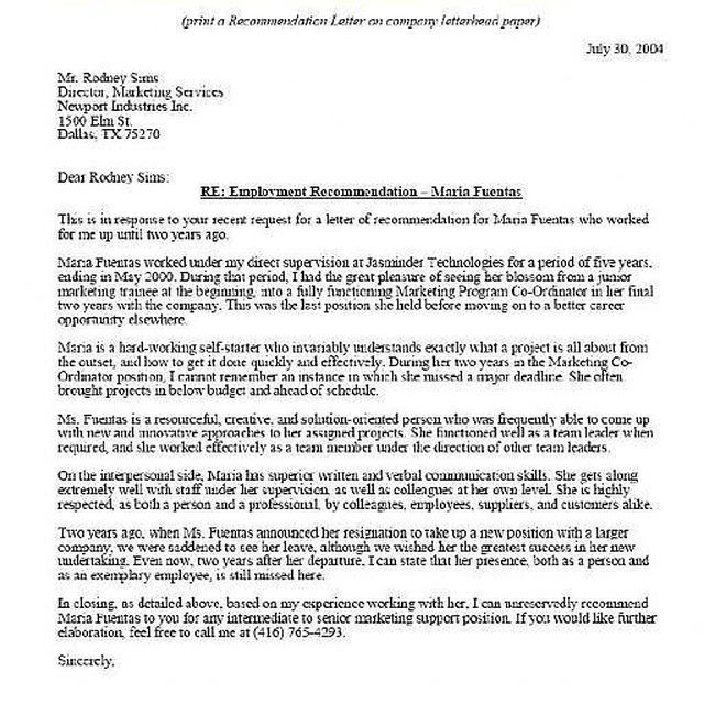 Letter Of Recommendation Sample | Reference Letter, Lead Magnet