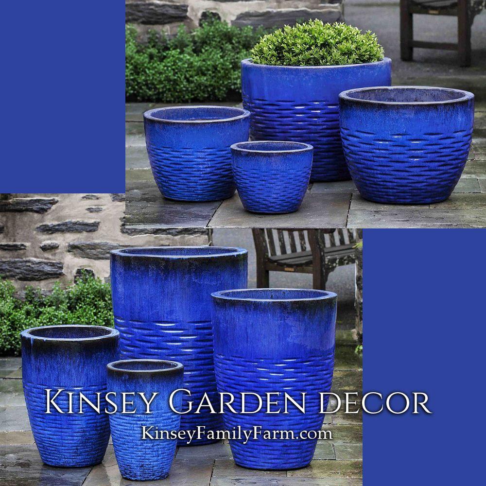 Kinsey Garden Decor Hyphen Large Ceramic Plant Pots Royal Blue Contemporary Decorative Pottery Tall Flower Pots Outdoor Large Garden Pots Ceramic Flower Pots