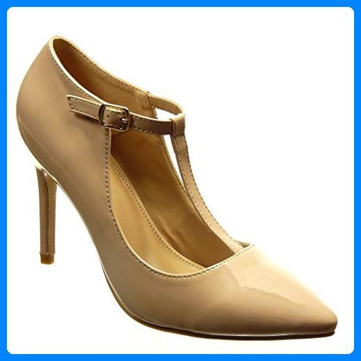 Angkorly - damen Schuhe Pumpe - T-Spange - Sexy - Patent Stiletto high heel