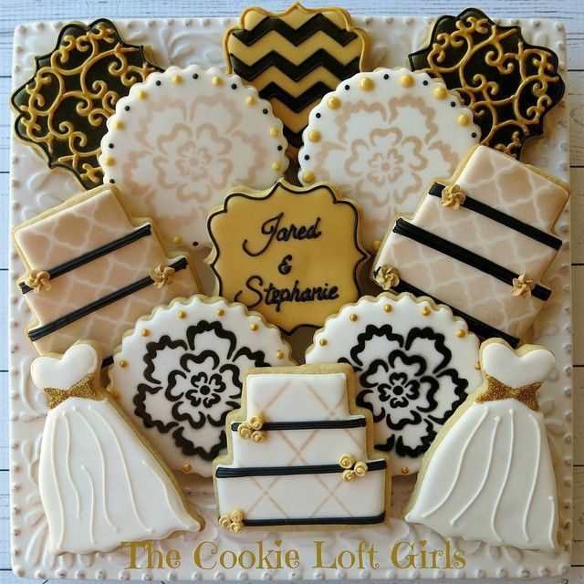 black white and gold themed wedding shower cookies