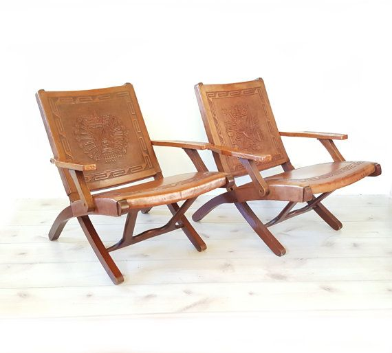 Rare Peruvian Leather Chairs ~ Vintage Peruvian Embossed Leather Folding  Chairs Set Of Four~ Mid