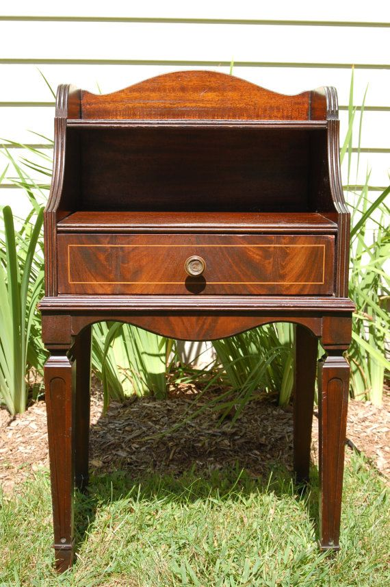 Perfect Antique Huntley Simmons Mahogany Telephone Table, Antique Mahogany End Table,  Bedside Table, Night