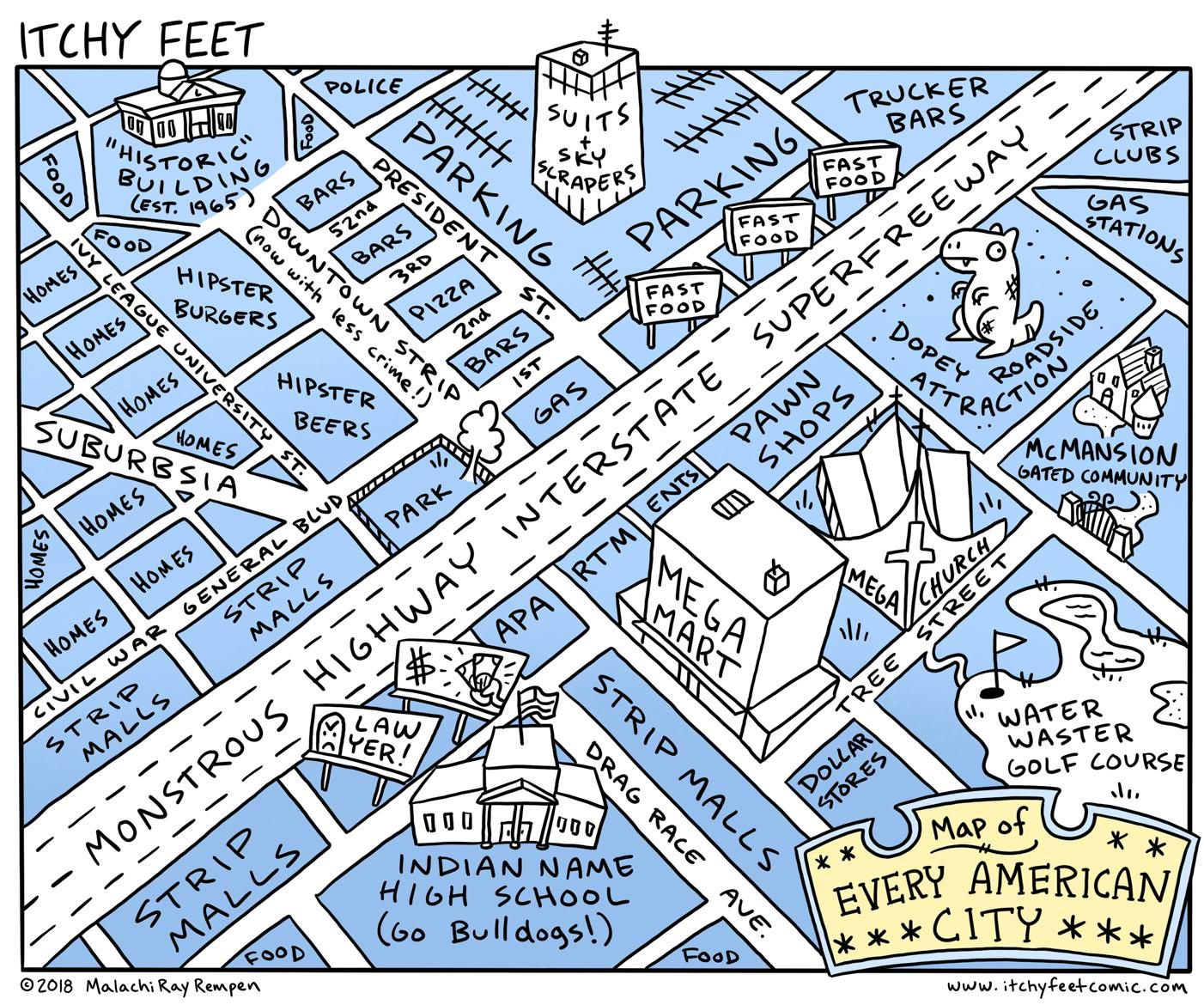 Us Map With Every City Map of every American city   Vivid Maps | Funny comics, Funny