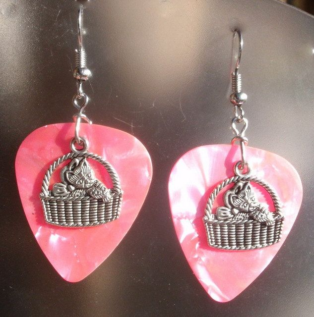 Guitar Pick Earrings - Cat in Basket - Your Choice of Color. $6.00, via Etsy.