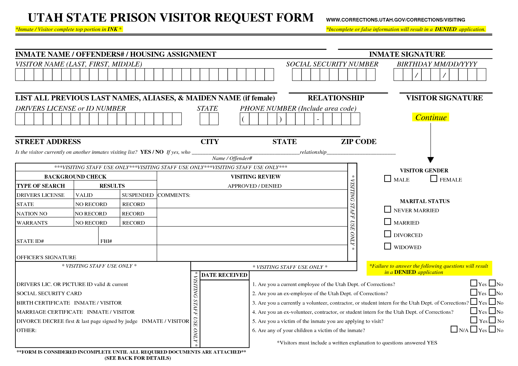 Federal Prison Visitor Request Form For Greenville Il  Google