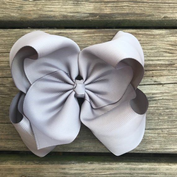 Large Gray Bow - Big Hair Bow - 6in Hair Bow - Basic Hair Bow - Boutique Hair Bow - Solid Color Bow