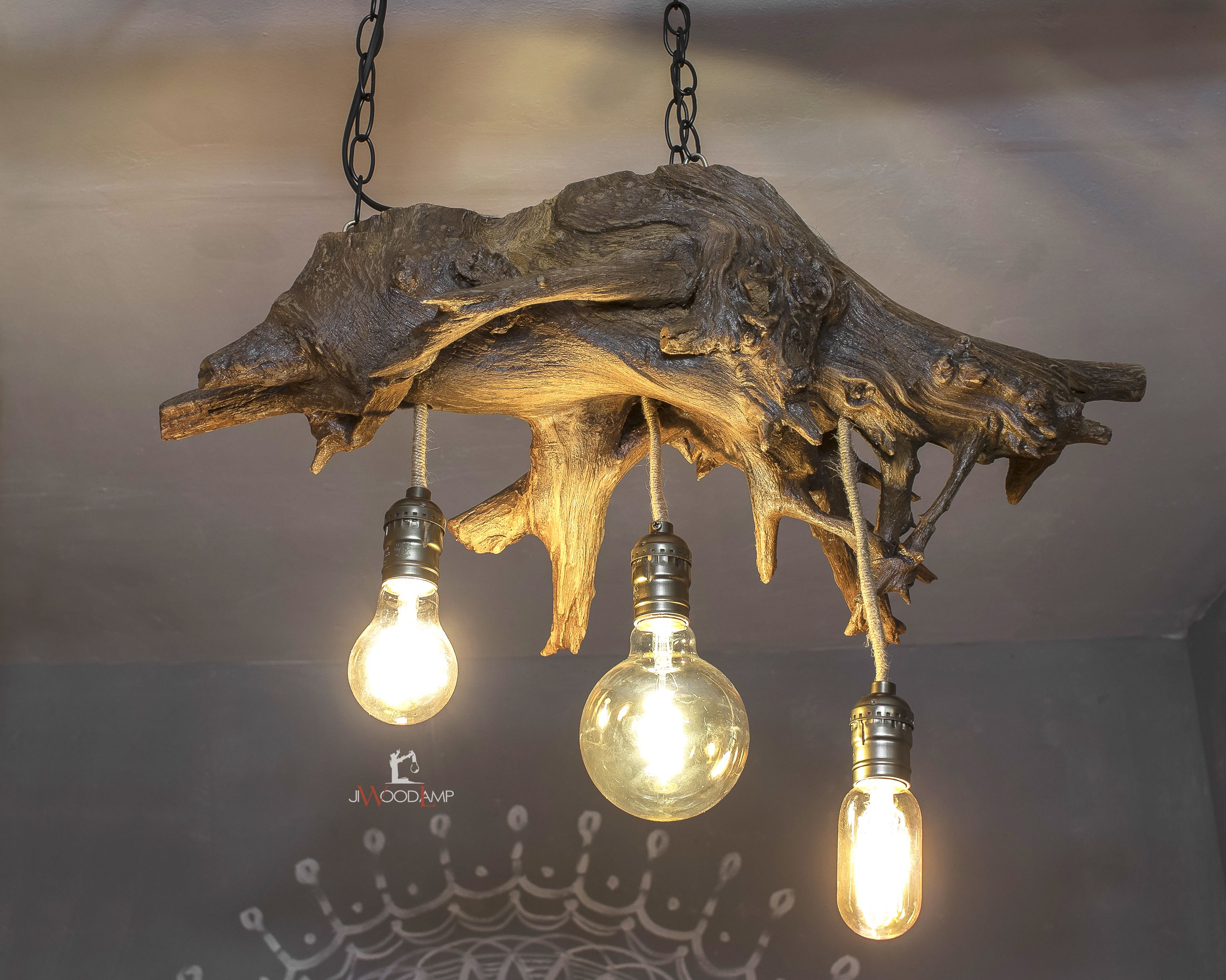 Wood Pendant Lamp Driftwood Hanging Light Three Bulb Wood