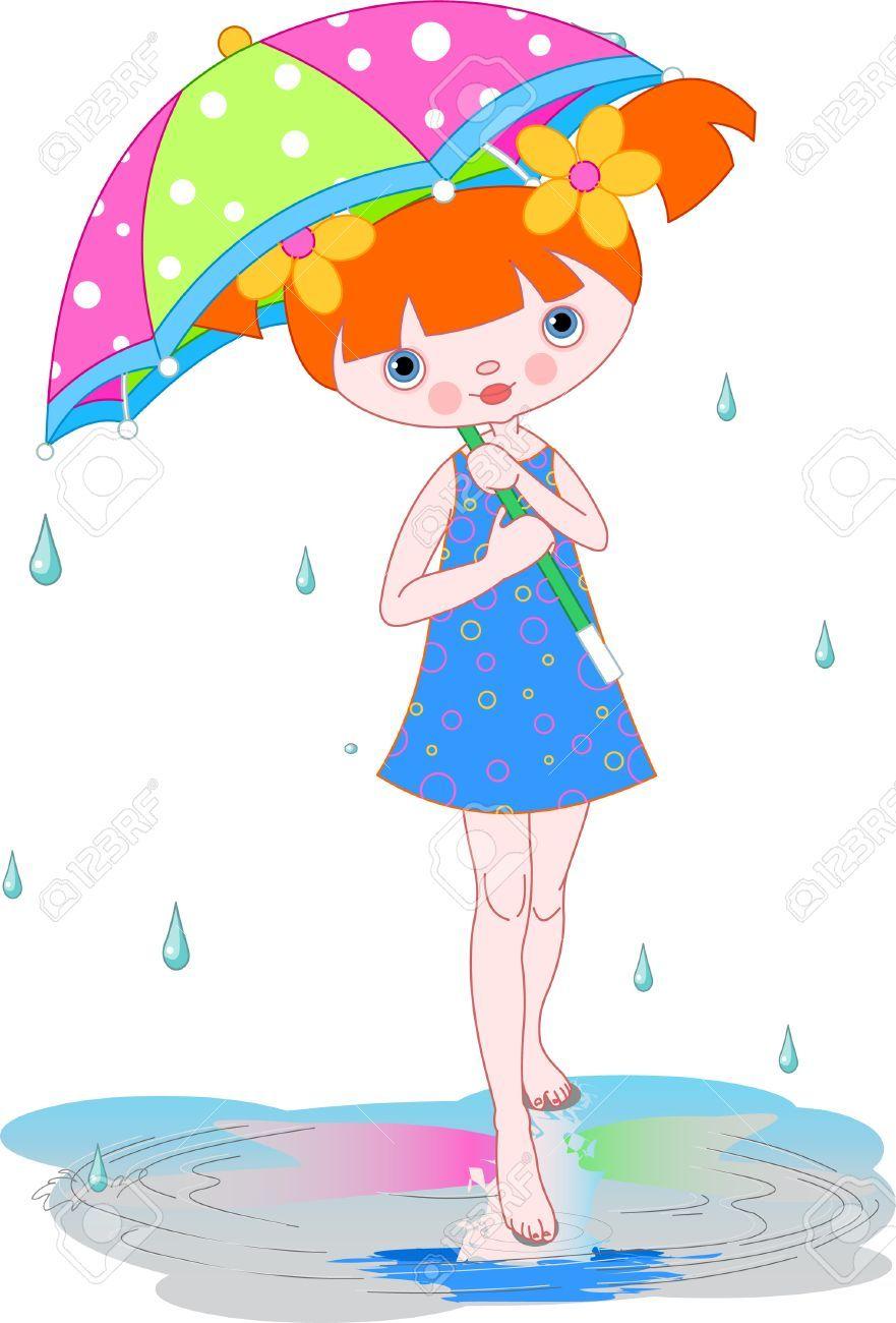 Girl Under Summer Rain Carrying Umbrella Paraguas De Colores Munequitas Tiernas Bordes Para Hojas