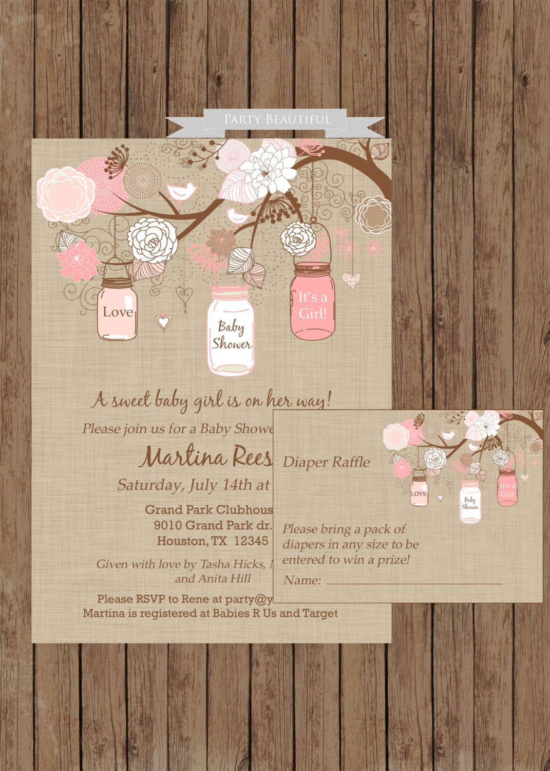 Rustic Girl Baby Shower Invitation And Diaper Raffle By