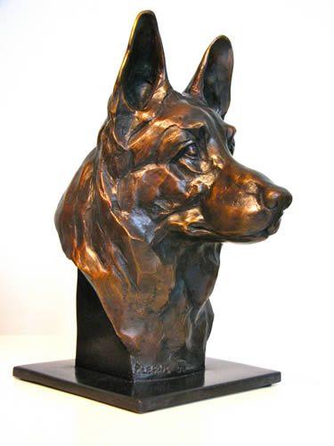 Antique Finish German Shepherd Sitting Dog Statue