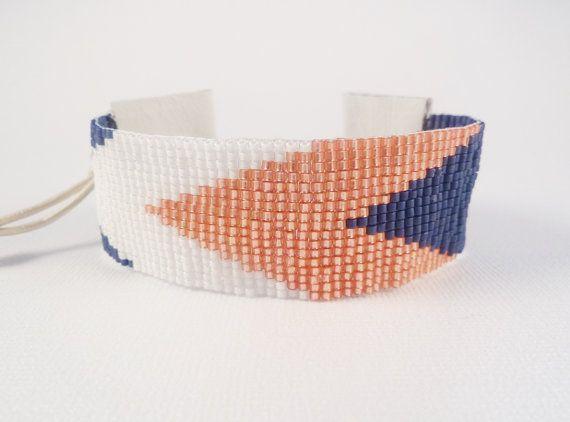 Nautical chevrons loom beaded cuff, navy blue, coral, white via Etsy
