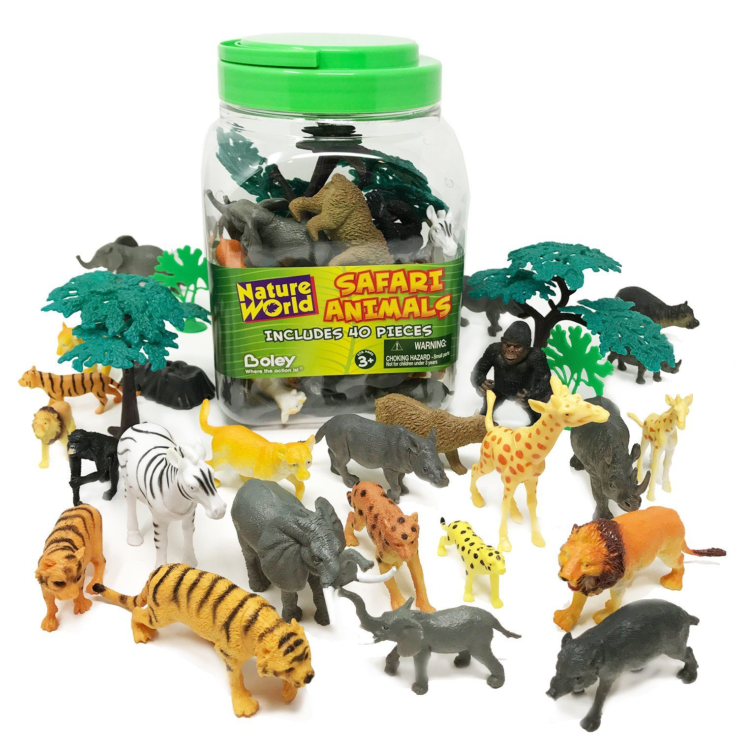 BOLEY 40 piece Bucket of Safari Animals Assorted Jungle Animals