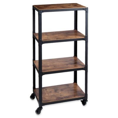 Mind Reader Charm 4 Shelf Utility Cart In Black Wood In 2020 Utility Cart Wood Shelves Wood And Metal