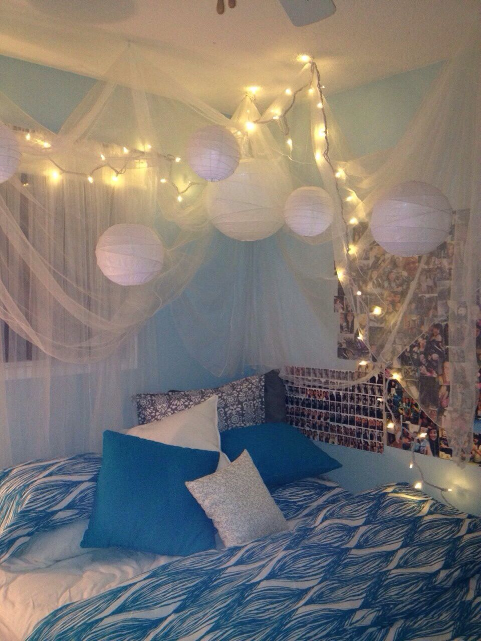 bedroom with paper lanterns fairy lights - Lights For Teenage Bedroom