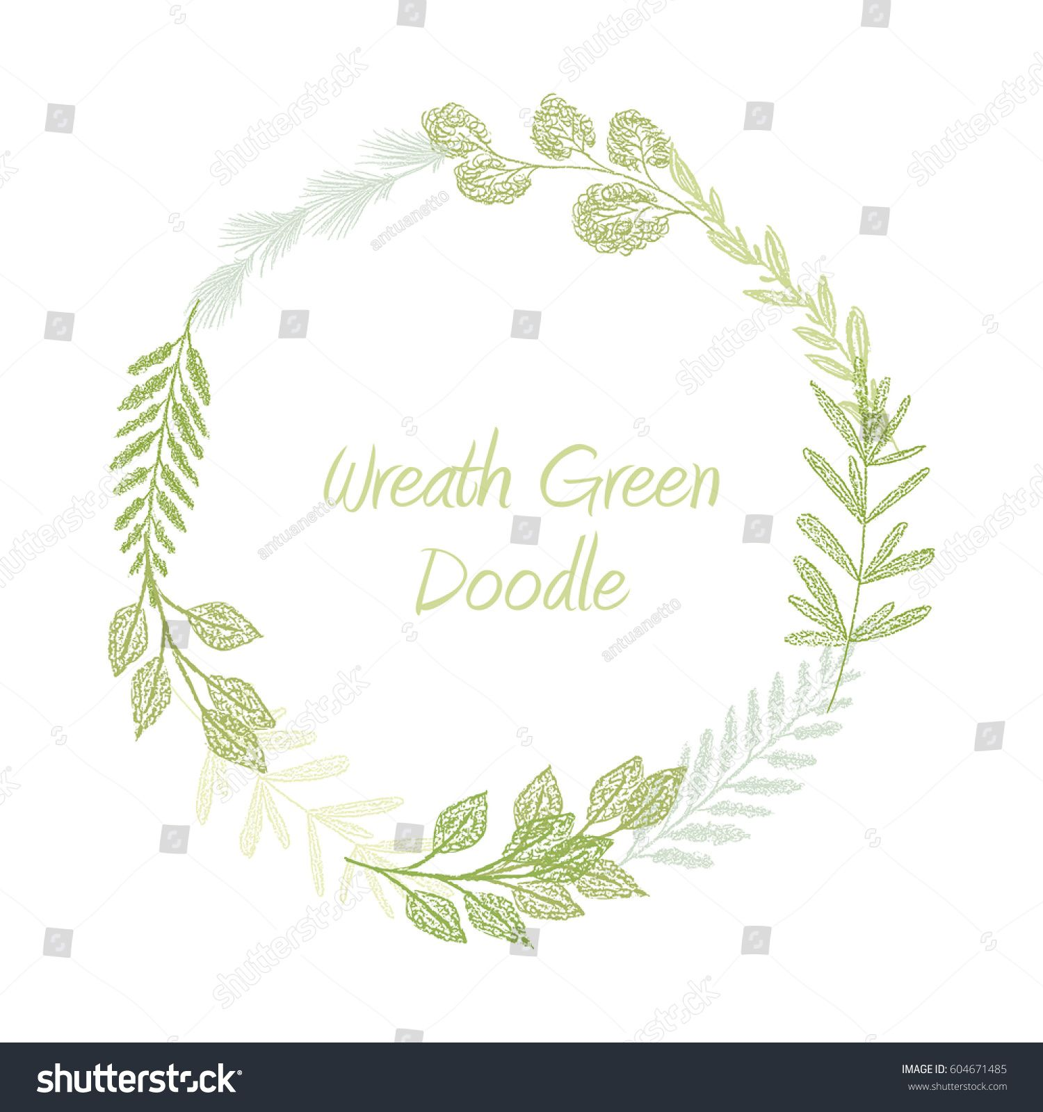 Green hand drawn leaves and grass wreath vector greeting green hand drawn leaves and grass wreath vector greeting invitation or wedding card template stopboris Image collections