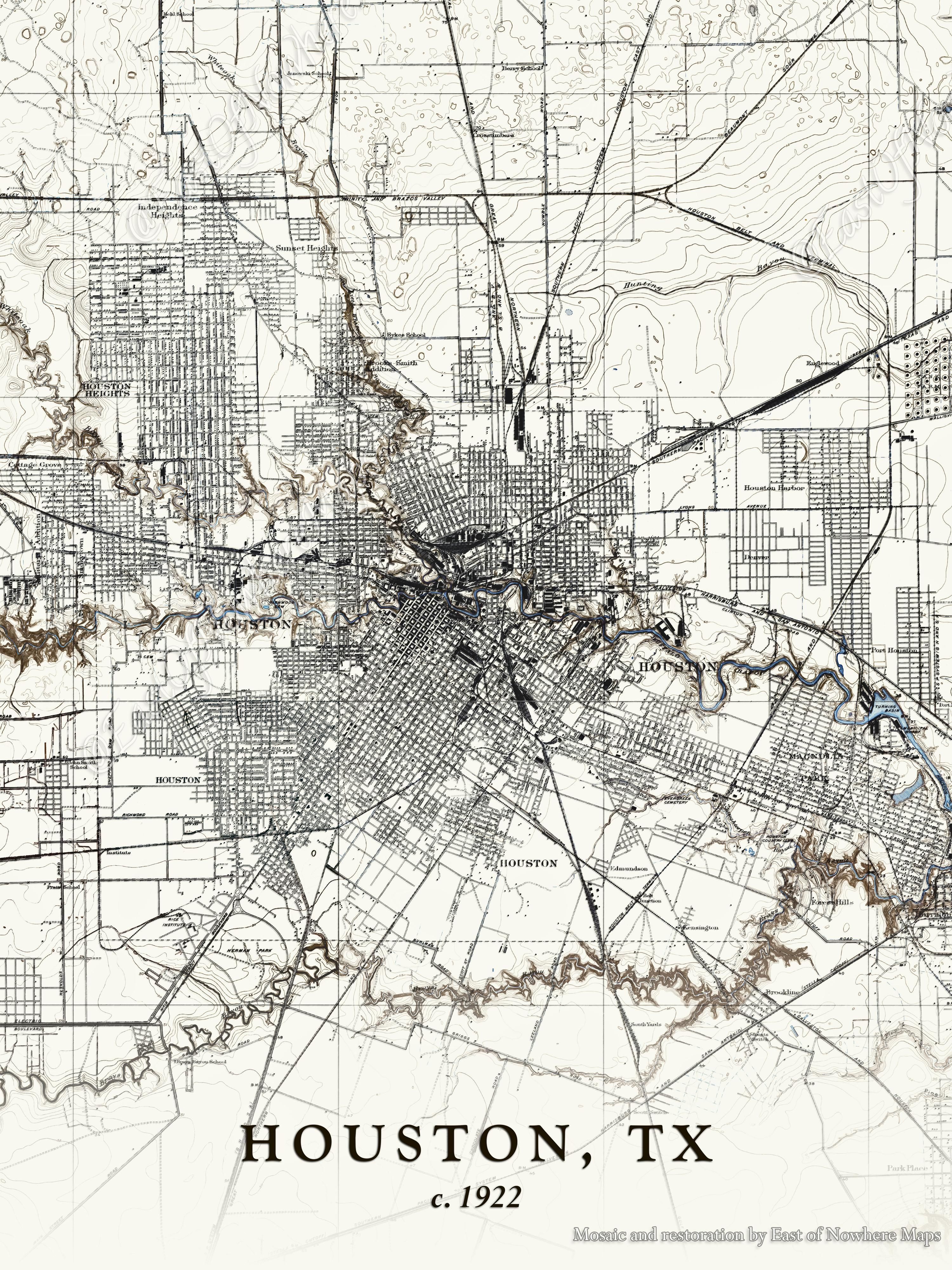 topographic map of houston 1922 Topographic Map Of Houston Restored Topographic Map