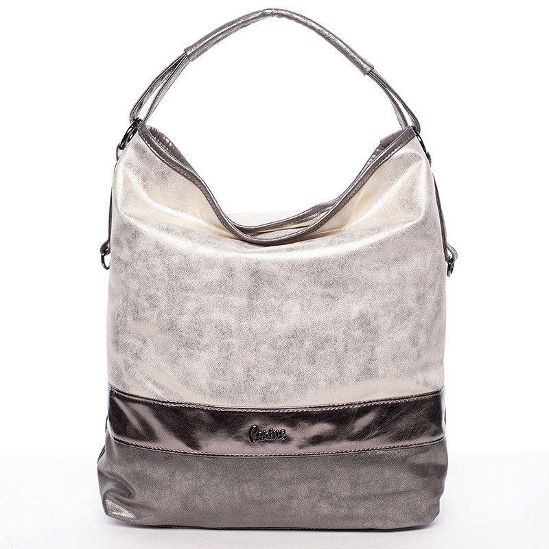 cdf67b2e71  Bestseller  2016 Velká elegantní dámská zlatá kabelka se stříbrnými  detaily Carine. Ideální model